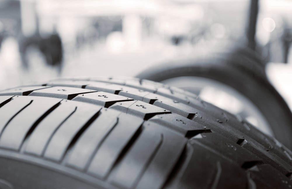 close up of the top of a tyre